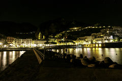 A night view of amalfi Stock Images