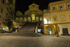 A night view of amalfi cathedral in the night Stock Photo
