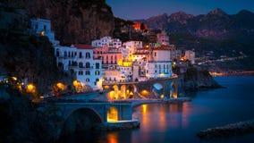 Night view of Amalfi on coast line of mediterranean sea, Italy. Night view of Amalfi cityscape on coast line of mediterranean sea, Italy stock photo