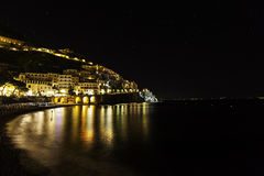 A night view of amalfi. Positano, a night view of costiera amalfitana Stock Images