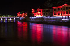 Night view of Amasya city center, Turkey Stock Photography