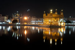 Night view of Amritsar Golden Temple, India Royalty Free Stock Photo