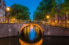 NIght view of Amsterdam Canals Royalty Free Stock Photo