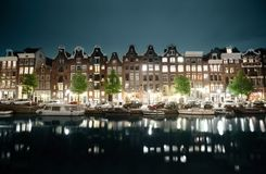 Night view of Amsterdam Royalty Free Stock Images