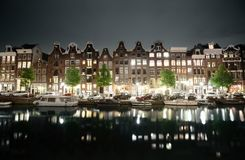 Night view of Amsterdam Royalty Free Stock Photography