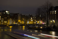 Night view Amsterdam with light trail Stock Photography