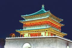 Night View of Ancient Chinese Building Stock Image