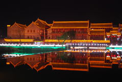 Night view of the ancient city of Weinan Royalty Free Stock Photography