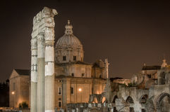 Night view of the ancient Roman forum in Rome, Italy Royalty Free Stock Photos