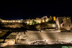 Ancient amphitheater in Malaga. Night view on ancient ruined amphitheater in the center of Malaga Royalty Free Stock Photo
