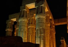 Night view of an Ancient temple in Luxor without people, Thebes, UNESCO World Heritage Site, Egypt, North Africa royalty free stock photos