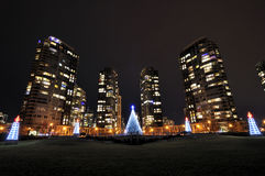 Night View of Apartments and Christmas Lights. Vancouver bc Royalty Free Stock Images