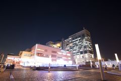 Night view of Aqua city is shopping mall at Odaiba in Tokyo, Japans shopping. Odaiba, Japan - Jan 28 2016: night view of Aqua city is shopping mall at Odaiba in Royalty Free Stock Image