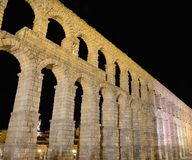Night view of aqueduct of Segovia, Spain. Royalty Free Stock Photo