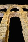Night view of aqueduct of Segovia, Spain. Stock Photography