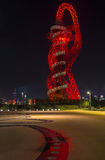 Night view of the ArcelorMittal Orbit, Queen Elizabeth Olympic Park, London Royalty Free Stock Image