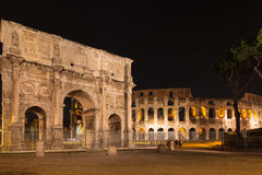 Night view of Arch of Constantine and colosseum. In Rome, Italy Royalty Free Stock Images