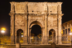 Night view of Arch of Constantine. Near the colosseum in Rome, Italy Royalty Free Stock Photography