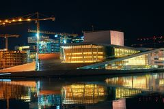Night view of architectural award-winning National Oslo Opera House, Norway stock photography