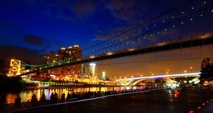 Night view. Asia Taipei City's famous tourist attractions, the new store Bitan gorgeous night Stock Images