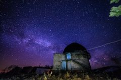 Night view of astronomical observatory against background of starry sky with milky way.  Royalty Free Stock Photography