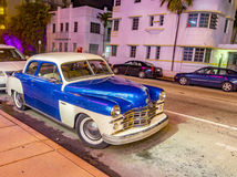Night View At Ocean Drive In Miami Beach Stock Image