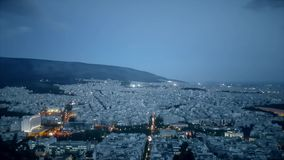 Night view of Athens in Greece. View from the top. stock footage