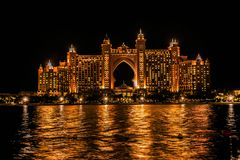 Night view of Atlantis, The Palm, The multi-million dollar Atlantis Resort, Hotel stock image