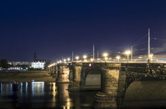 Night view of Augustusbrucke in Dresden, Germany Stock Images