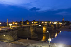 Night view of Augustusbrucke in Dresden, Germany Stock Image