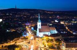 Night view on auto junction in Bratislava Royalty Free Stock Image