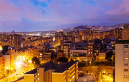 Night view of Badalona and Barcelona Royalty Free Stock Images