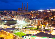 Night view of Badalona and Sant Adria de Besos Royalty Free Stock Photos