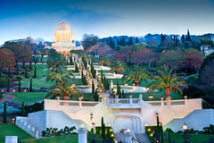Night view on Bahai Gardens. Israel. stock images