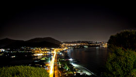 Night view of Baia bay, Pozzuoli, near Naples, Italy Royalty Free Stock Photo
