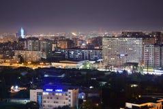 Baku, Azerbaijan - July 18, 2018: Baku city design bird view Night Bright lights. royalty free stock images
