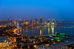 Night view of the Baku city Stock Photography