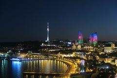 Baku city night view. Night view of Baku city, Azerbaijan. Flame towers and Azerbaijan flag reflection Stock Photos