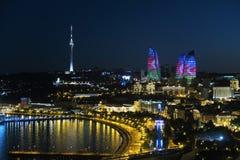 Baku city night view. Night view of Baku city, Azerbaijan. Flame towers and Azerbaijan flag reflection Royalty Free Stock Photos