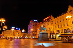 Night view of Ban Josip Jelacic Square in Zagreb, Croatia Royalty Free Stock Images