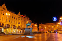 Night view of Ban Josip Jelacic Square in Zagreb, Croatia Stock Photography