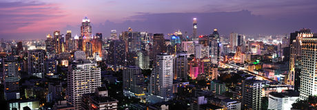 Night view of Bangkok from Asok area Royalty Free Stock Photography