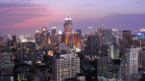 Night view of Bangkok from Asok area Royalty Free Stock Photos