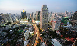 Night view of Bangkok from Asok area Royalty Free Stock Image