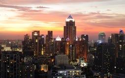 Night view of Bangkok from Asok area Stock Photos
