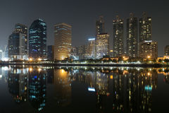 Night view of Bangkok, Thailand. Nice view from Benjakitti park, central area of Bangkok Stock Photo