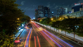 Night view of Bangkok with traffic trails Royalty Free Stock Image