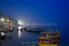 Bank of holy Ganges river. Night view of the banks of holy Ganges river in varanasi, uttar pradesh, India. People from all over the world visit this place to see stock photography