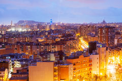 Night view of Barcelona from Badalona municipality Royalty Free Stock Photo