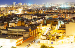 Night view of Barcelona from Badalona municipality Royalty Free Stock Photography